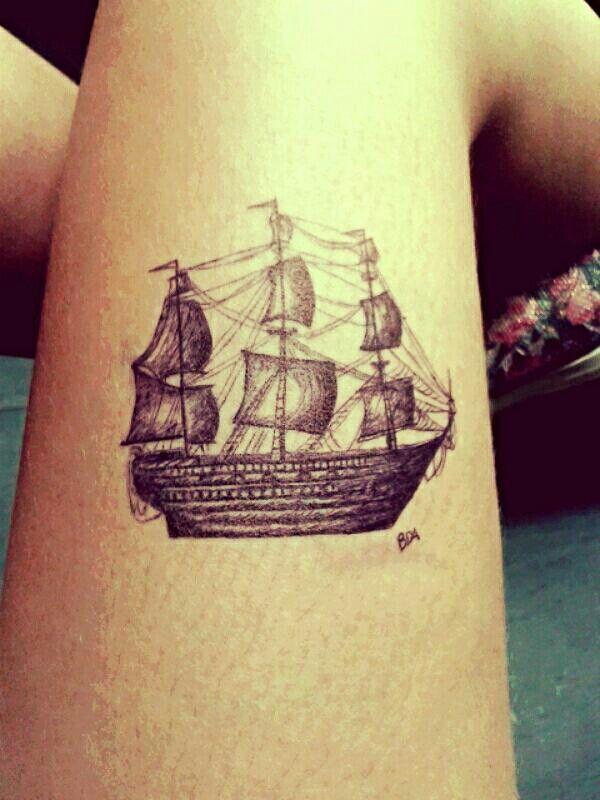 Self tattoo #tattoo #ship #draw #pen