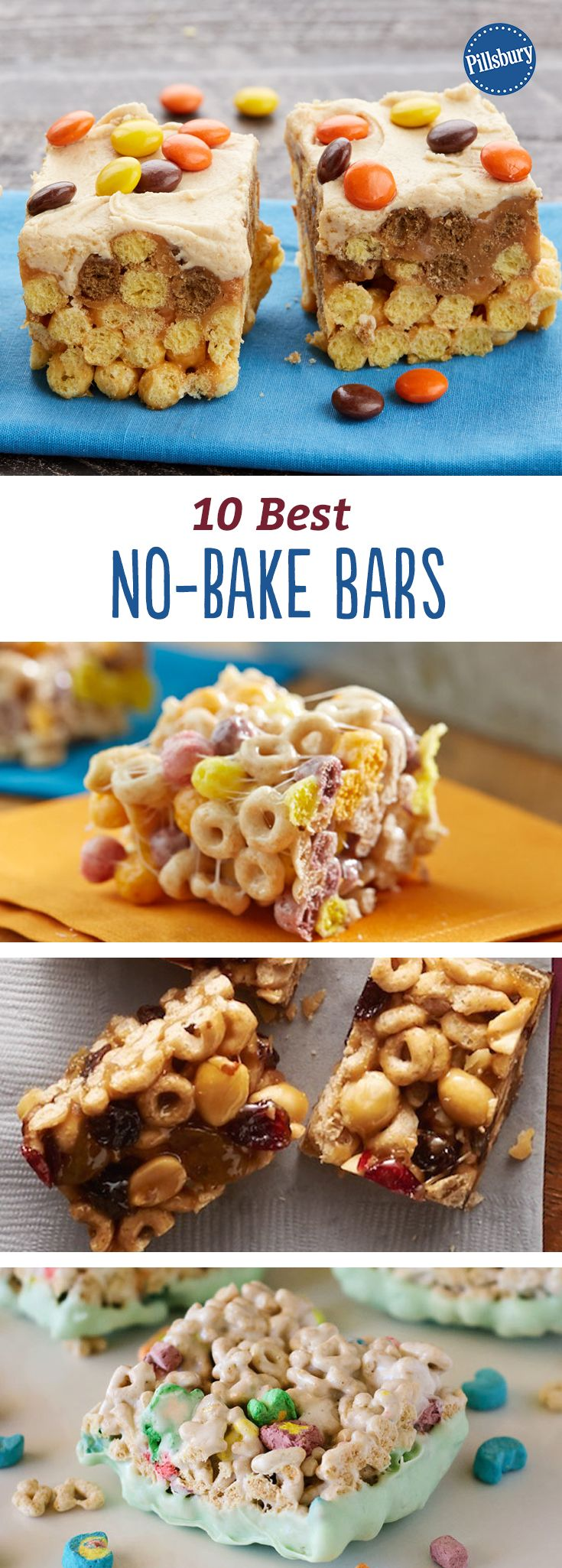 10 Best No-Bake Bars: Turn your favorite cereal into a no-bake bar. Make a batch this weekend and you'll have them on hand for a quick breakfast or after-school snack all week long.