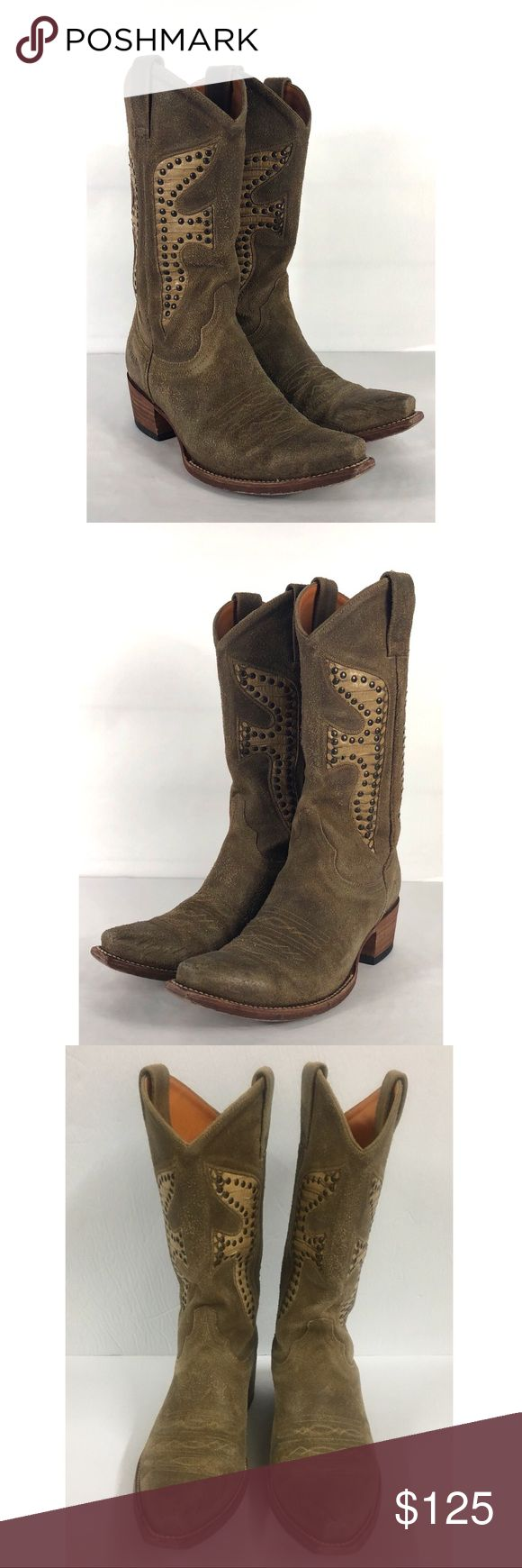 Frye Daisy Duke Cowboy Boots Leather Snakeskin These adorable boots are tan leather suede snakeskin with studs on each side, (1 stud missing on left boot) still have lots of wear left in them. Some scuffing & creasing from wear.   B-73 Frye Shoes Heeled Boots