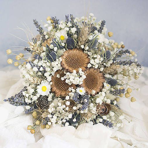 Dry flowers bridal bouquet. Blue, white: lavender, gypsoghylla, protea...
