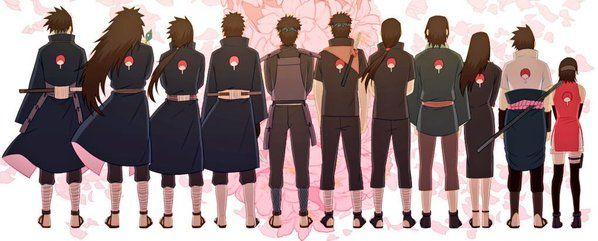 The Uchihas - From Left: Tajima, Madara, Izuna, Obito, Kagami, Shisui, Itachi, Fugaku, Mikoto, Sasuke, Sarada.