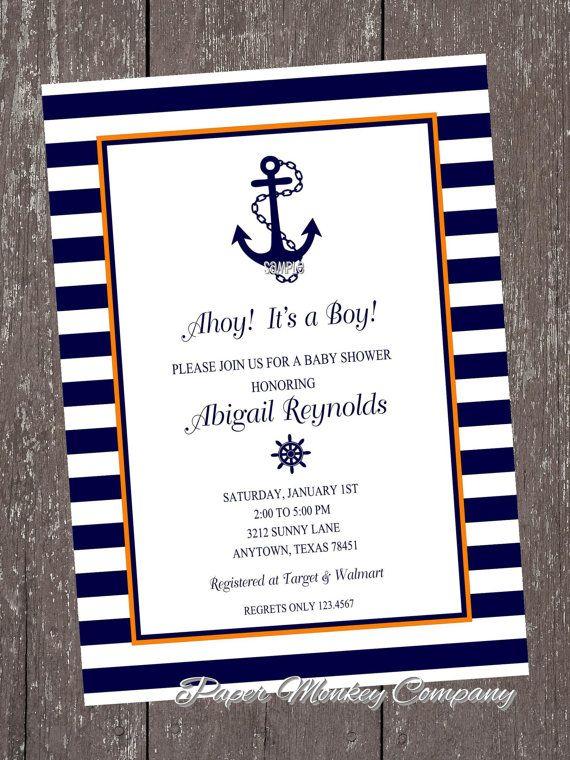 Orange and Navy Nautical Anchor Invitations by PaperMonkeyCompany, $1.00