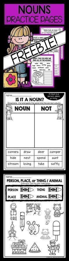 NOUNS PRACTICE PAGES FREEBIE Focuses on Person, Place, Thing, or Animal