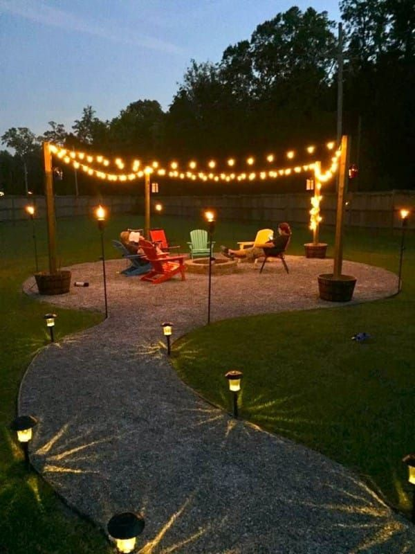 outside lighting ideas. homeowners tear up their pretty grass to create a beautiful backyard fire pit outside lighting ideas n