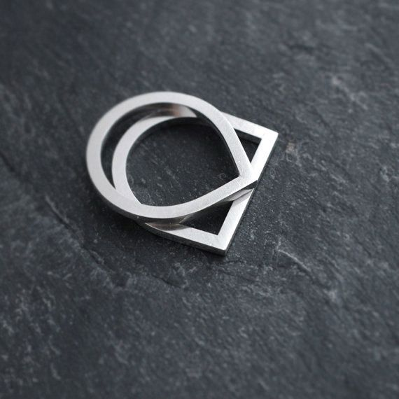 Finer Adam and Eve solid silver stacking rings van Minicyn op Etsy