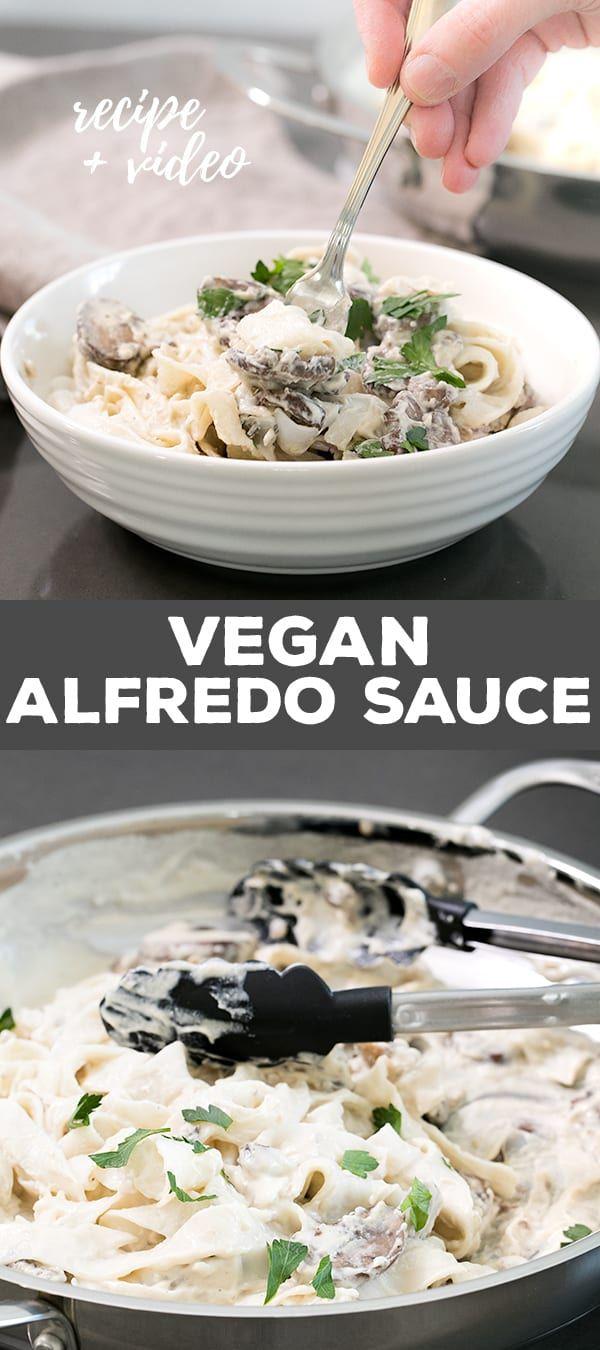Easy Vegan Alfredo Sauce With Mushrooms Made Gluten Free Vegan Alfredo Vegan Alfredo Sauce Pasta Nutrition