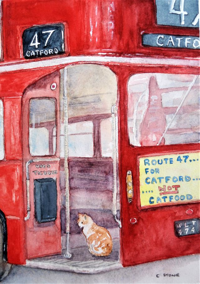 """Original watercolour painting """"Cat Rides to Catford"""", on"""