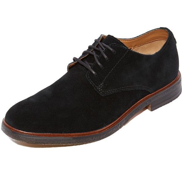 Clarks Clarkdale Moon Suede Oxfords (365 BRL) ❤ liked on Polyvore featuring men's fashion, men's shoes, men's oxfords, black, mens black oxford shoes, mens oxford shoes, mens rubber sole shoes and mens black suede shoes