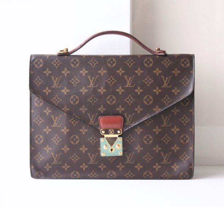 louis vuitton briefcase, monogram Porte-documents Bandouliere,  Authentic Vintage handbags, Louis Vuitton bags,designer handbags, totes by hfvin on Etsy  #louisvuitton #monogram #briefcase #monceau #Bandouliere #tote #handbag #hfvin