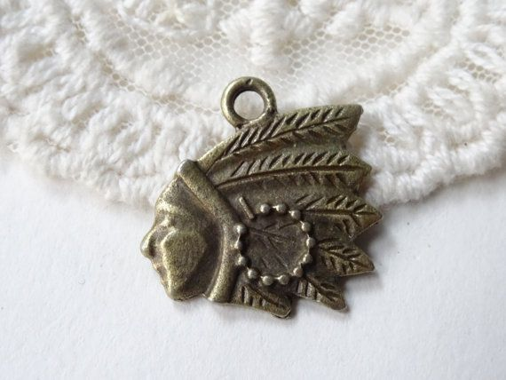 6 Indian Head Charms Western Style Native American Flat by BuyDiy
