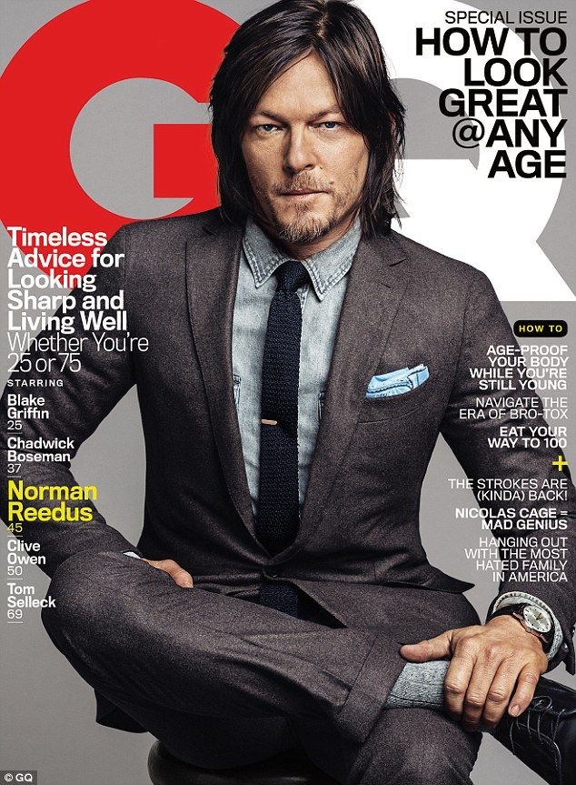 Slick and stylish: The Walking Dead's breakout star, Norman Reedus tells GQ that  he is happy with success now, but he was content on living a peaceful life before the opportunity came along