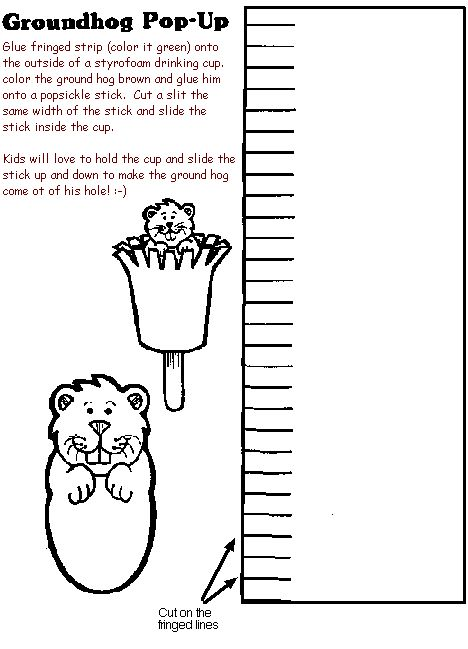 Groundhog craft---I've been doing this for years, but instead of the paper for the grass, we use a paper cup, color it, and cut it.