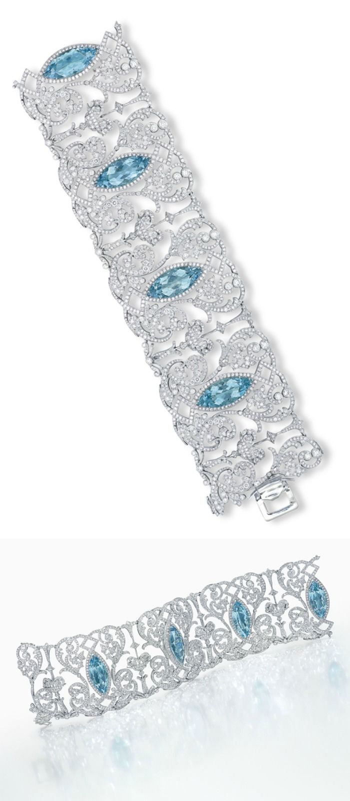 AN AQUAMARINE AND DIAMOND BRACELET, BY TIFFANY & CO.: The wide band designed as four openwork panels, each centering on a marquise-cut aquamarine, within a circular-cut diamond scrolling foliate surround, interspersed by giardinetto and palmette motif links, mounted in platinum, 18.2 cm, in black suede Tiffany & Co. case. Via Christie's.