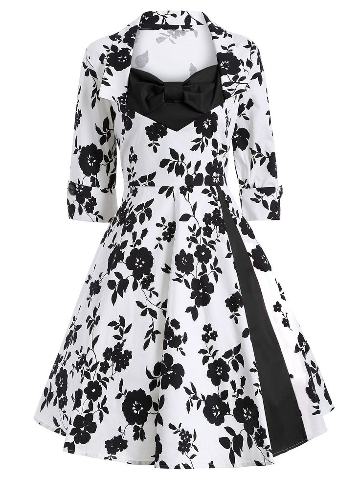 Bow Tie Vintage Printed Swing Dress in White And Black | Sammydress.com