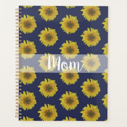 #gold - #Mom Mum Mother Navy Sunflower Personalized Planner