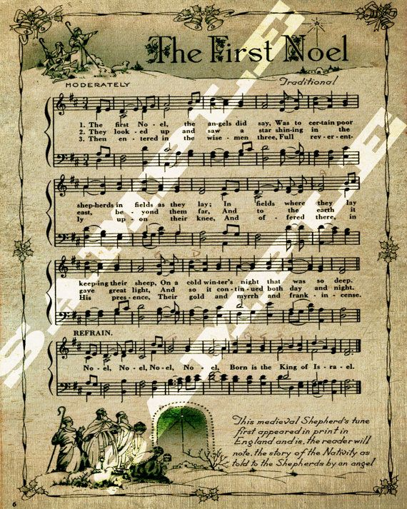 The First Noel Christmas Religious Holiday Sheet Music Printable Download Tag Sign 8x10 on Etsy, $2.17 AUD