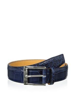 58% OFF Leone Braconi Men's Crocodrillo Stampato Embossed Belt (Blue)