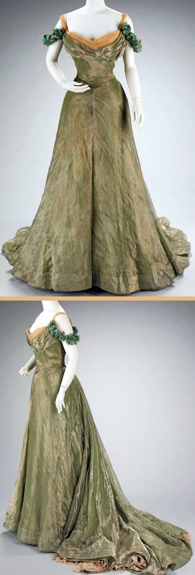 Ball gown, Jacques Doucet, 1898-1900. Silk and metal. Ball gown, Jacques Doucet, 1898-1900. Silk and metal. This ball gown is simple in design, yet extravagant by the choice of materials. The sheer overlayer is enhanced by the solid lamé underlayers and a sense of luxury is added by the hidden lace flounce at the hem. Metropolitan Museum of Art.
