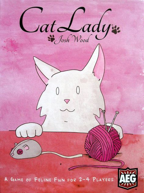 Description from the publisher:  In Cat Lady, players are cat ladies, part of an elite group of people including Marie Antoinette and Ernest Hemingway. During the game, you and your fellow cat ladies will draft cards three at a time, collecting toys, food, catnip, costumes, and of course lovable cats. But watch out! Make sure you have enough food for all of your feline friends or your hungry cats will subtract points from your score. The player with the highest total victory points wins the…