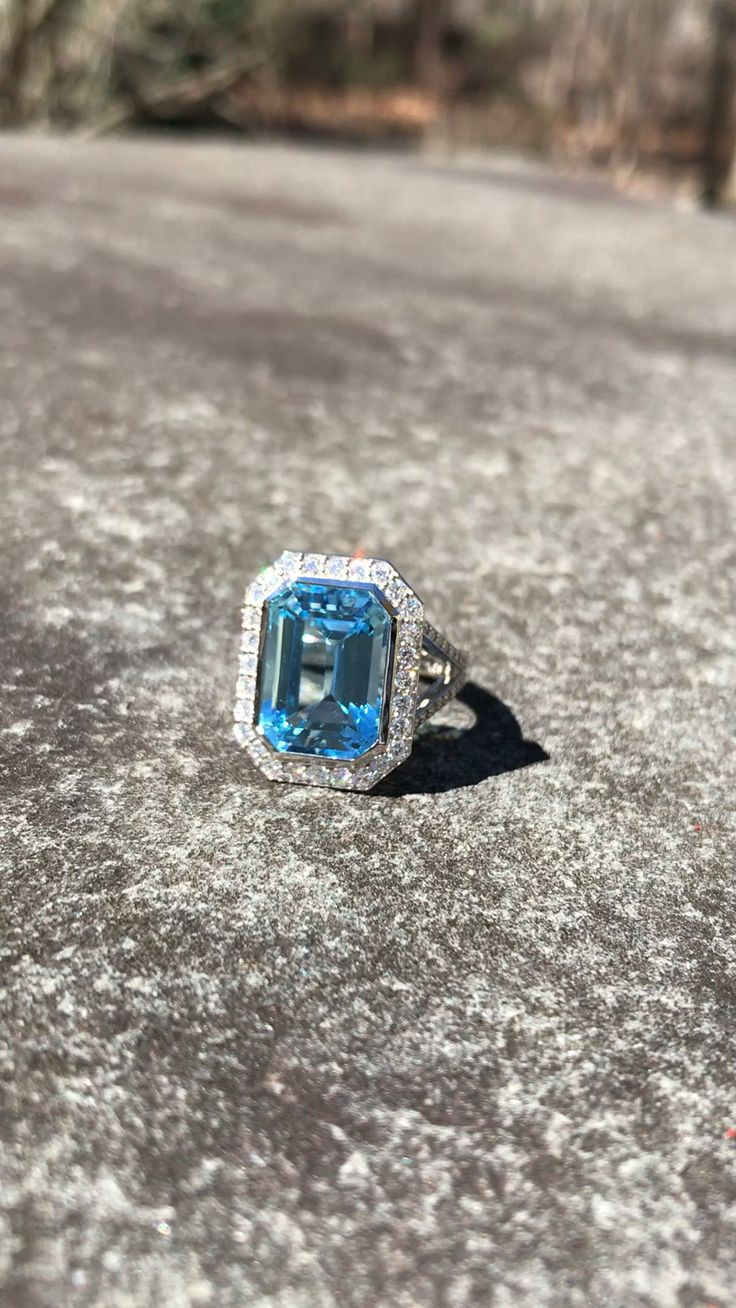Large Blue Topaz and Diamond Cocktail Ring [Video] Blue