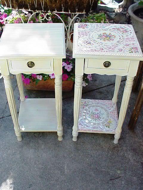 broken china mosaic side table
