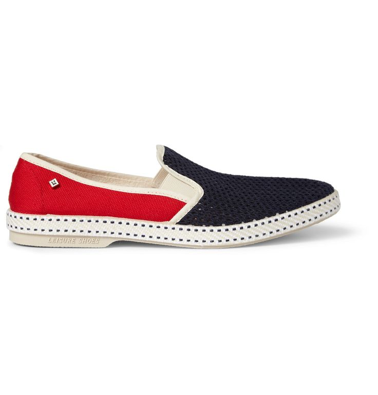 Constructed to be lightweight yet hard-wearing, Rivieras' cotton shoes with sturdy and comfortable rubber soles are the ideal holiday footwear. Whether you are treading cobbled streets or sandy shores, this blue and red pair will inject low-key looks with a dose of continental flair.