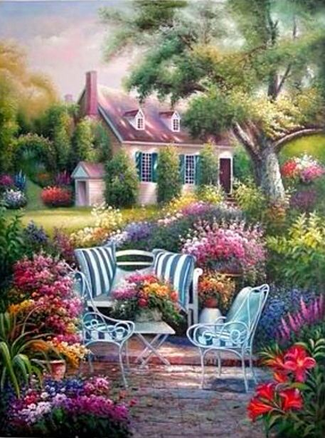 ART FINE ~ Pink Roof And Flowers And A Table For Two.