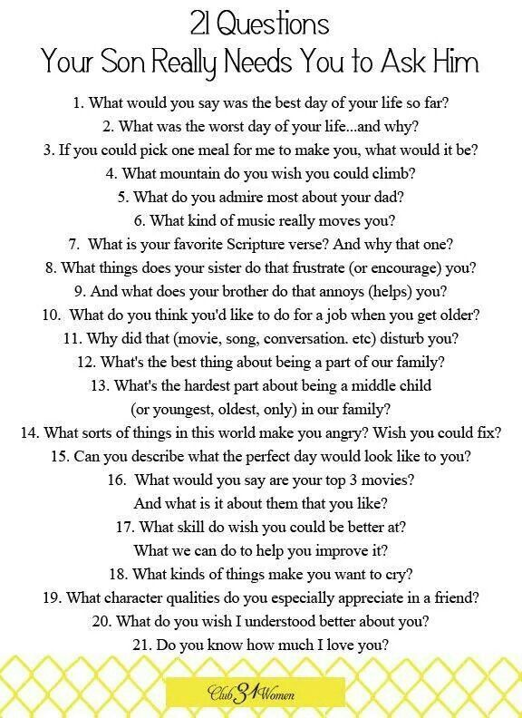 Questions to ask your boys