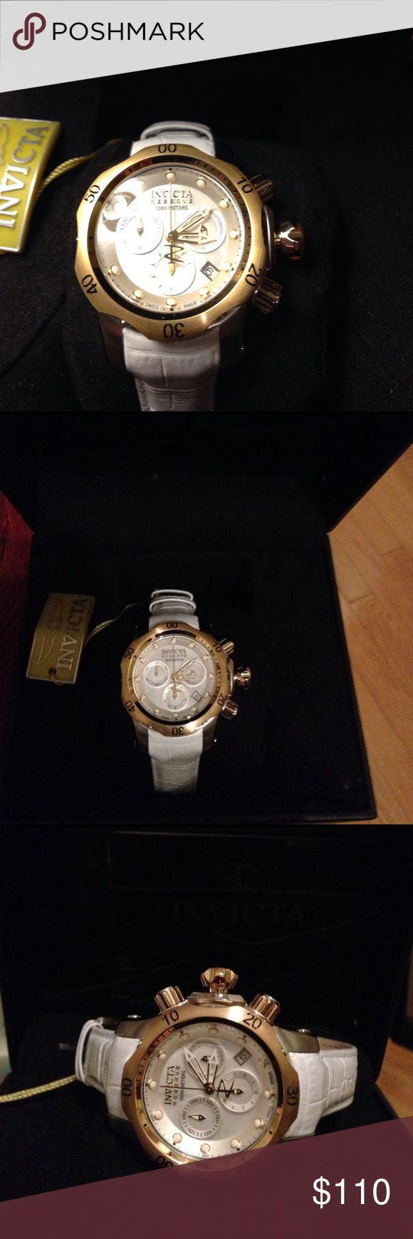 Invicta Watch Unbelievable woman's Invicta Reserve watch. BNWT. Very expensive brand unmatched in quality. White leather band. All paperwork and original box included. One of my best deals in my closet!! Enjoy!! Invicta Jewelry