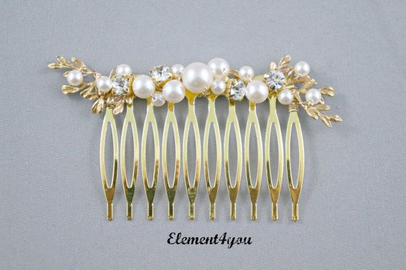 Bridal hair comb, Gold branches, Swarovski ivory or white pearls, Wedding hair piece, Accessories, Rhinestone pearls cluster, Bridal hairdo