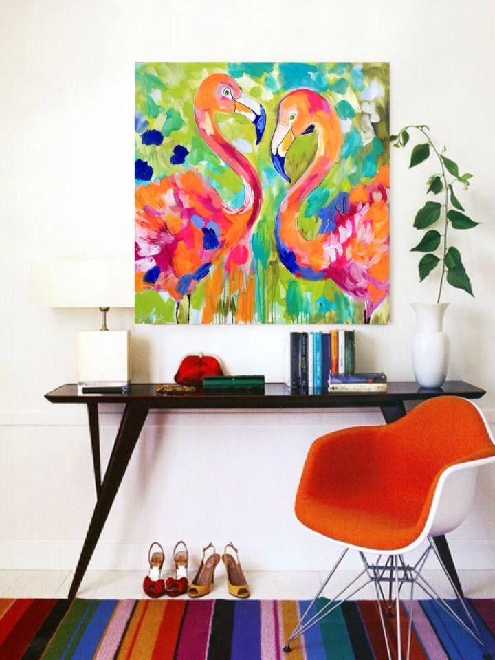 Flamingo jingo - in situ 90 x90 cm