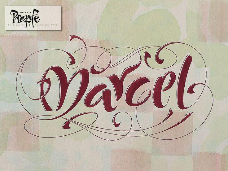 Marcel, schwungvoll und tänzerisch, handkolorierter Hintergrund, hochwertiges Aquarellpapier.