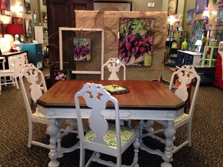 Painted Antique Dining Table U0026 Chairs