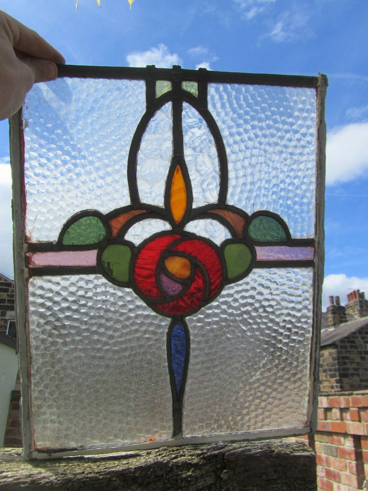Antique Stained Glass Leaded Window Panel Floral Red Yellow Green Purple Old