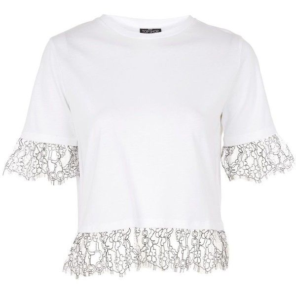Topshop Petite Lace Ruffle T-Shirt (445 UYU) ❤ liked on Polyvore featuring tops, t-shirts, white, basic white tee, ruffle crop top, white crop top, basic tees and petite t shirts