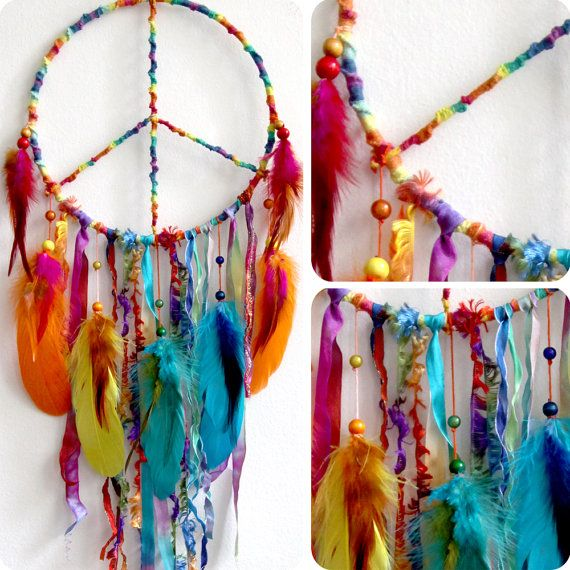 Peaceful Pow Wow Native Woven Dreamcatcher | Feathers ...