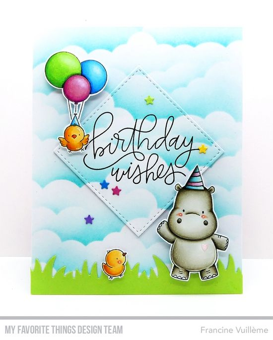 Happy Hippos Stamp Set and Die-namics, Stitched Square STAX Die-namics, Grassy Fields Die-namics, Handwritten Happiness Stamp Set, Mini Cloud Edges Stencil - Francine Vuillème #mftstamps