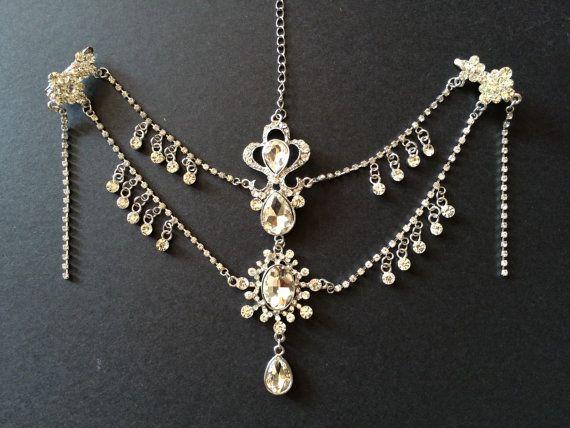 Victoria wedding hair chain rhinestone drape hair chain