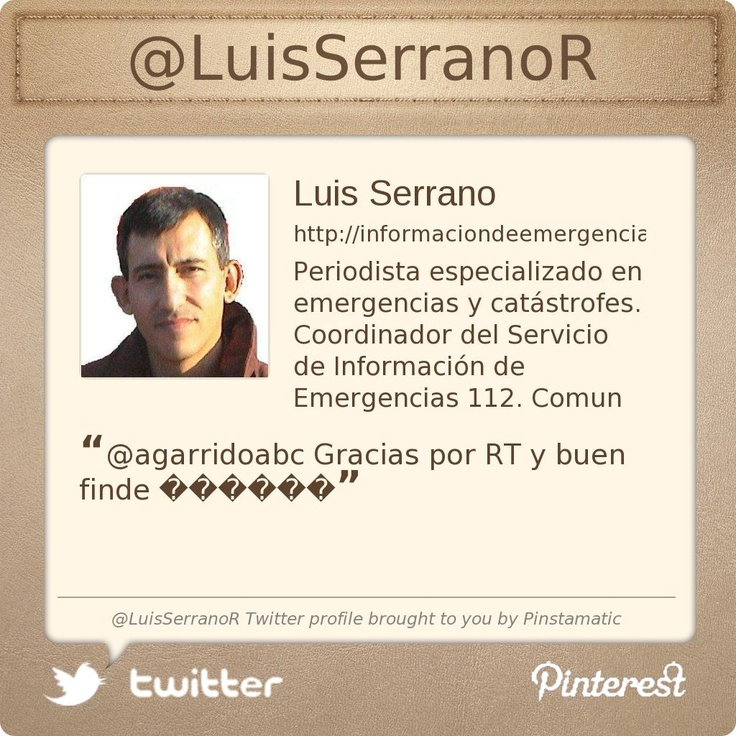@LuisSerranoR's Twitter profile courtesy of @Pinstamatic (http://pinstamatic.com)