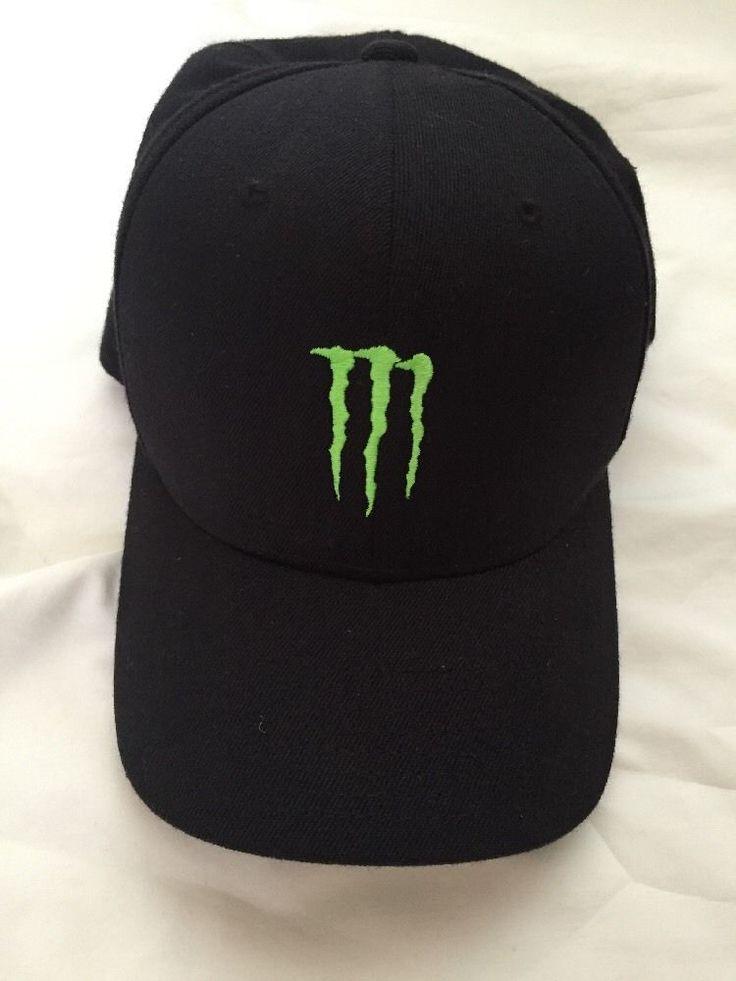 monster energy drink black green claw logo l  xl flexfit
