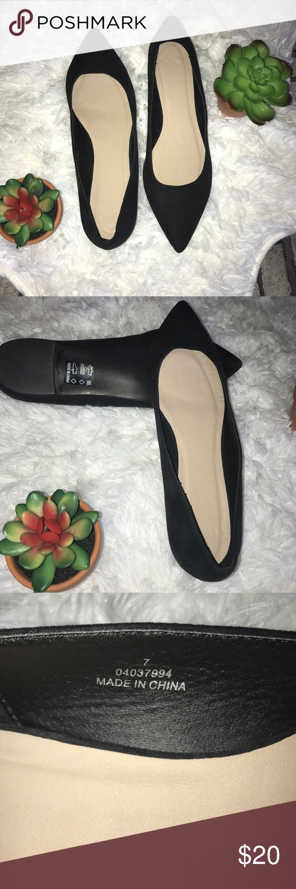 ASOS pointed toe suede black ballet flats 9 ASOS suede pointed toe ballet flats. Barely worn. UK size 7 US size 9 women's. Great for fall. Slip one. Asos Shoes Flats & Loafers