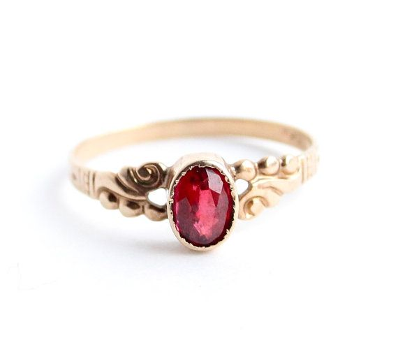 Antique Victorian 10K Gold Ring Garnet Red Fine Jewelry by MaejeanVINTAGE, $135.00