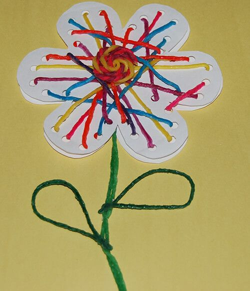 No-Glue Flower String Art Craft For Kids