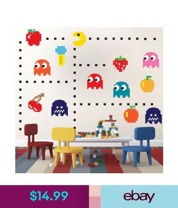 n53 Modern Pacman Stickers for The Nursery Modern Pac-Man Wall Decal Atari Bedroom Design Game Room Pac-Man Wall Mural
