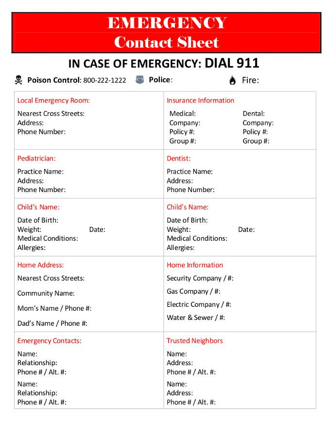 7 best images about emergency contact printables on for Emergency contact form template for child