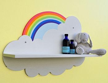 Beautiful Rainbow Cloud Shelf for the nursery. Eco friendly, handmade and hand painted.