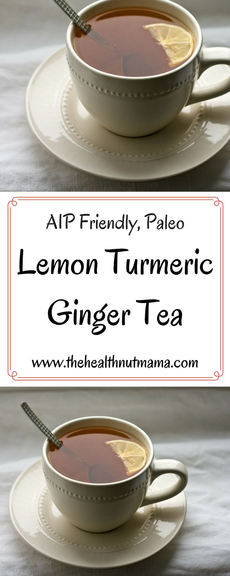 One of the most nutritious teas you can drink. Lemon Turmeric Ginger Tea! #aip #paleo #lemon #turmeric #ginger #tea #inflammation #autoimmune #disease #digestion #loseweight #cancer #antiimmflammatory #acv #applecidervinegar www.thehealthnutmama.com