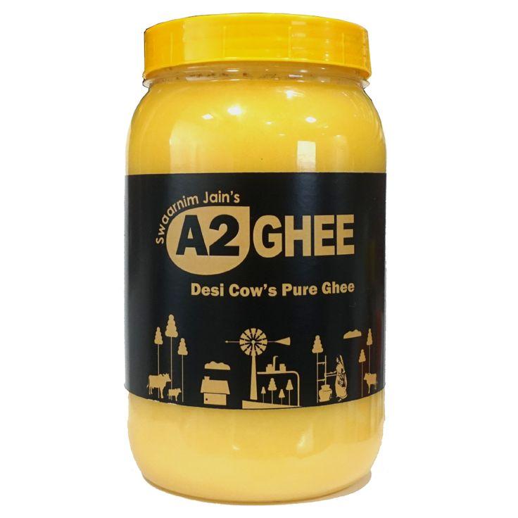 A2 Ghee 100% Pure Gir Cow Ghee- Jain's A2 Ghee 1000ml 0% Trans Fat - Grass-Fed - Non-GMO - Desi Ghee