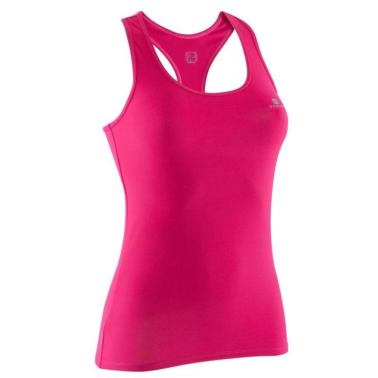 Canotte Abbigliamento fitness,Danza - Canotta donna MY TOP rosa scuro DOMYOS - Abbigliamento Palestra