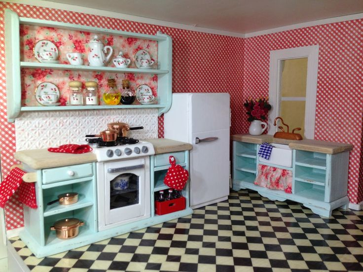 Once Upon A Doll Collection : Shabby Chic Kitchen, Dollhouse   Has Tut for making kitchen